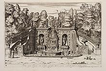 BARRIÈRE (D.). Villa Aldobrandina Tusculana sive varii illius hortorum et fontium prospectus. Rome, Iacobi de Rubeis, 1647, in-folio de 22 planches, veau granité, filet à froid autour des plats, dos à nerfs orné de fleurons, pièce de titre rouge,