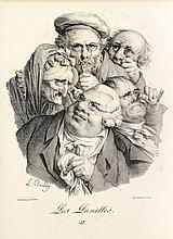 Louis-Léopold Boilly (1761-1845) Sujets divers : Les Savoyardes, La Rosière, L'Hiver, Les Lunettes, Les Mangeurs de noix, Les Grimaces, Les Journaux, Les Osages, Les Nez ronds, La Marchande de beignets, Les Petits Ramoneurs. 1823-1827. Lithographie.