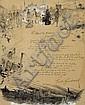 Henri Rivière (1864-1951) et Émile GOUDEAU (1849-1906). Dessin original, signé à droite, et poème autographe signé, Discours du Bitume ; 57 x 46 cm à vue (encadré ; restauration sur le côté droit)., Henri Riviere, Click for value