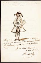 Roger de BEAUVOIR (1809-1866). 3 L.A.S. (dont 2 avec dessin), et 2 poèmes autographes signés, 1839-1862; 5 pages in-8 et 1 page in-4 (petites fentes à 2 pièces).