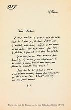 Albert CAMUS (1913-1960). 2 L.A.S. (la première «A.C»), à une amie Andrée; 1 page in-8 à l'en-tête de la nrf et demi-page in-4.