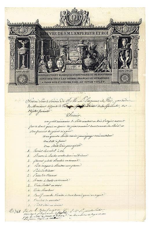 Martin-Guillaume BIENNAIS (1764-1843) orfèvre. P.S., contresignée par le comte de Turenne, Grand Maître de la Garde-robe, Paris 6 mai 1812; 1 page et demie in-fol., grande vignette gravée.