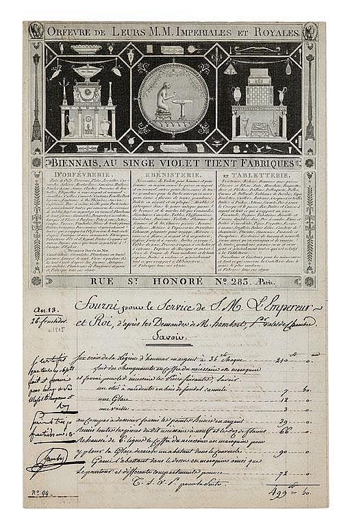 Martin-Guillaume BIENNAIS (1764-1843) orfèvre. P.S., Paris 10 nivose XIV (31 décembre 1805); 3 pages gr. in-fol., grand en-tête avec vignette gravée de Biennais, Au Singe violet...