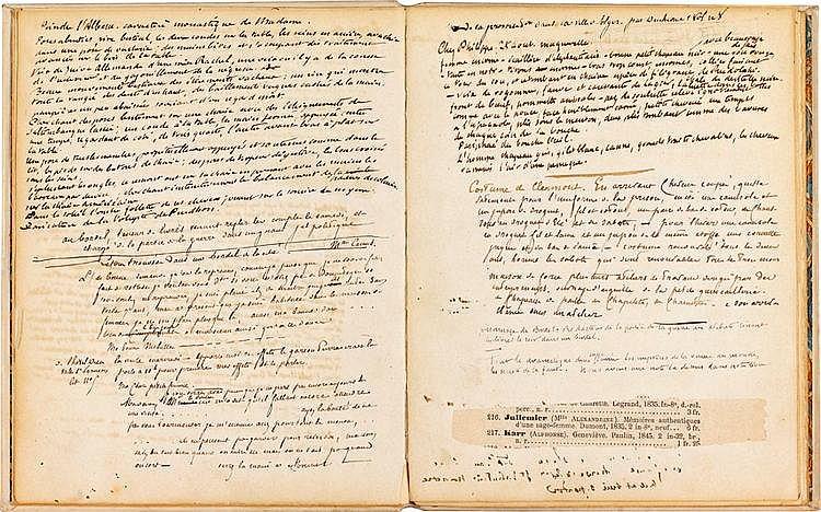 Edmond et Jules de GONCOURT (1822-1896, 1830-1870). Notes autographes pour La Fille Élisa, [vers 1862-1875]; un volume petit in-4 de 23-3 feuillets in-4 ou in-8, bradel vélin rigide ivoire à recouvrements, titre en long sur pièce de maroquin rouge