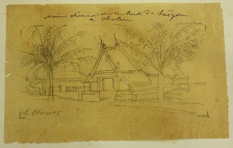 INDOCHINE. Hubert CLERGET (1818-1889) peintre et lithographe, professeur de dessin à l'École d'état-major. 2 dessins originaux au fusain sur calque, signés en bas à gauche à la mine de plomb, avec légendes à l'encre; 11,8 x 18 cm. et 11,2 x 13 cm.