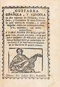 GUITARE Joan Carlos AMAT. Guitarra Espanola, y vandola en dos maneras de Guitarra, Castellana, y Cathalana de cinco Ordenes, la qual ensena de templar, y taner rasgado, todos los puntos naturales, y b, mollados, con estilo maravilloso. Y para poner