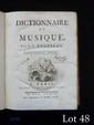 Jean-Jacques ROUSSEAU (1712-1778). Dictionnaire de Musique (Paris, Veuve Duchesne, 1768) ; in-quarto, plein veau blond, dos à nerfs, fleurons dorés, xii-548 pp., privilège, XIII planches. (reliure de l'époque).