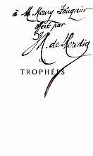 HEREDIA (José-Maria de). Les Trophées. Paris, Alphonse Lemerre, 1894. In-12, demi-maroquin vert, dos long orné d'une fleur aux pétales rouges mosaïqués et de fleurons dorés, deux faux-nerfs en cabochon portant le nom de l'auteur et le titre, tête