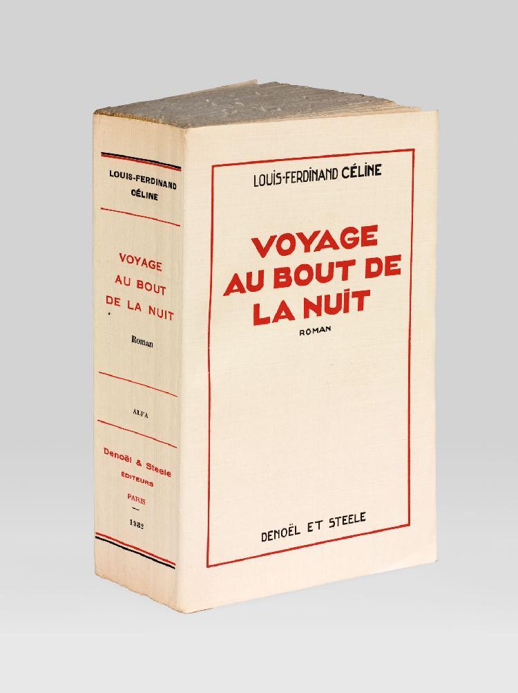 CÉLINE (Louis-Ferdinand). Voyage au bout de la nuit. Paris, Denoël et Steele, 1932. In-12, broché, non rogné, chemise demi-maroquin noir, doublure daim crème, étui bordé (A. Devauchelle).