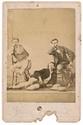 CORBIÈRE (Tristan). - Portrait du poète, d'Aimé Vacher et de Ludovic Alexandre. Photographie sur carton fort, format carte postale (photo : 128 x 92 mm ; carton : 164 x 108 mm). Morlaix, Gustave Croissant, [vers 1870].