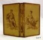 ALMANACH. Toilette Kalender fur Damen. Vienne, J. Grammer, 1811. In-24, soie grège estampée au moyen d'une plaque gravée sur métal avec encadrement, au premier plat Diane, et au second Apollon, dos lisse orné, tranches dorées, étui moderne en