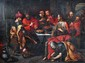 École FLAMANDE du XVIIe siècle Le Repas chez Simon  Huile sur panneau (Fentes) H.  77 cm - L.  107 cm