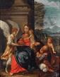École ITALIENNE du XVIIe siècle, suiveur de Guido RENI Le repos pendant la fuite en Égypte Huile sur cuivre H.  34 cm - L.  27,5 cm