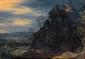 Ecole flamande du XVIIe siècle.  Suiveur de Pieter SCHOUBROECK.  Paysage de montagne avec des promeneurs.  Huile sur cuivre.  H.  19,5 cm - L.  26,5 cm.