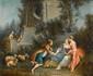 École Française du XVIIIe siècle.  La Fontaine de l'Amour.  Huile sur toile.  H.  87 cm - L.  104 cm