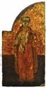 SAINT MARTYR Ce volet provient d'un triptyque, malgré les usures du temps, le saint (Etienne ?) a  gardé tout son charme.  Grèce XVIe siècle Tempera sur bois, restaurations et manques visibles.  28 x 14,5 cm