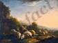 Balthazard Paul OMMEGANCK (1755-1826).  attribué à Troupeau de moutons dans le couchant.  Huile sur panneau.  H.  39,5 cm - L.  53,5 cm
