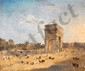 École Française du XIXe siècle.  L'Arc de Triomphe vers 1830.  Huile sur toile.  Trace de signature en bas à droite.  H.  46 cm- L.  55,5 cm