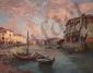 Paul SIMONS (1865-1932).  Le vieux port de Martigues.  Huile sur toile.  H.  80 cm - L.  100 cm