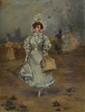 DECONDUN.  La Modiste.  Huile sur panneau.  Signée.  H.  35 cm - L.  26,5 cm