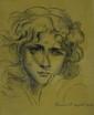 A.  CARNÉ Tête de jeune femme Fusain Signé en bas à droite, daté 1902 H.  30 cm - L.  24 cm