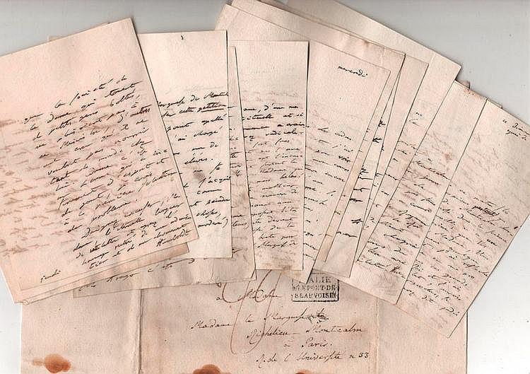 Alexandre von Humboldt (1769-1859) voyageur et géographe. 19 L.A.S., 1820-1828 et s.d., à la marquise de Montcalm ; 63 pages formats divers, qqs adresses (qqs lég. mouill.).