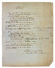 William BONAPARTE-WYSE (1826-1892) petit-fils de Lucien Bonaparte, officier anglais, poète provençal, ami de Mistral et Mallarmé. 5 manuscrits autographes signés de poèmes, et L.A.S. à Joseph Roumanille, 1864-1891; 17 pages formats divers; en