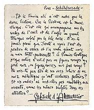 Gabriele d'ANNUNZIO (1863-1938). Manuscrit autographe signé, Pour