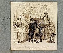 [Honoré de BALZAC]. 3 dessins pour La Peau de chagrin; plume et lavis d'encre brune, formats divers.