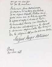 Miguel Angel ASTURIAS (1889-1974). Poème autographe signé, Me sueñas, ya lo se..., Paris 31 août 1968; 2pages in-4; en espagnol.