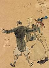 Edmond-Amédée HEUZÉ (1884-1967). Dessin original aquarellé, signé et légendé au centre à gauche, Fratellini Medrano; à vue 26 x 19 cm (encadré).