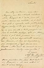 Alfred de MUSSET (1810-1857). L.A.S., Lundi [1848], à Émile Augier; 1 page in-8 avec rose gaufrée en vignette.