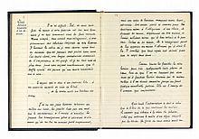 Joe BOUSQUET. Manuscrit autographe, [Lettres à Isel, 1946]; 49 pages sur papier ligné du début d'un gros cahier (le reste vierge) à couverture de percaline bleu nuit, titre doré au dos, sous chemise demi-maroquin vert et étui.