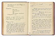 Joe BOUSQUET (1897-1950). Manuscrit autographe, [La Vie est ronde], 1946; cahier petit in-4 de 147 pages de papier ligné (le reste vierge), relié veau rouge avec titre en lettres dorées, sous chemise demi-maroquin rouge et étui.