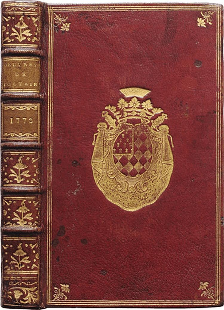CONTES DE GUILLAUME VADÉ. s. l. Genève, Cramer, 1770 ; in-8, maroquin rouge, encadrements de triples filets dorés, fleurons aux angles, armes au centre des plats, dos à nerfs orné de caissons et fleurons dorés, tranches dorées (Reliure de l'époque).