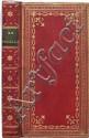 LA PUCELLE D'ORLÉANS, poëme héroï-comique, en dixhuit chants. Genève, 1772 ; in-18, maroquin rouge, riche encadrement de guirlandes dorées et fleurons, dos lisse orné, pièce de t. en maroq. olive, dentelles intérieures, tranches dorées (Reliure de
