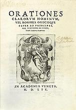 ORATIONES clarorum hominum, vel honoris officiique causa ad principes, vel in funere de virtutibus eorum habitæ. [Venise], in Academia veneta, 1559. In-4, chagrin bleu foncé, double filet doré avec fleuron d'angles, armoiries dorées au centre, dos