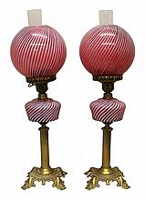 Pair of Cranberry Swirl Glass Lamps