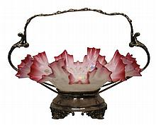 Art Glass & Silver-plated Bride's Basket