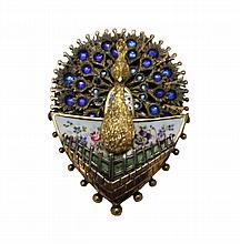 Gold, Silver, & Enameled Wind-Up Peacock Pin