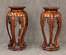 Two Carved Wooden indian Style Baluster Form Plant Stands, 20th c, 24