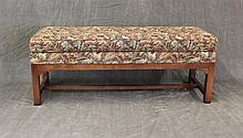 Upholstered Dressing Bench with Stretcher Base, 20th c, 19