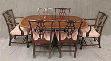 Duncan Phyfe 9 Piece Dining Room Suite, Mahogany, (Scratches on Table and Chairs) (1) Table on Casters with Brass Paw Feet 29