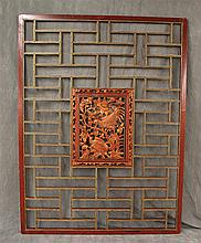 Chinese Wall Screen Carved Copper Painted Roosters Medallion, 74