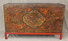 Tibetan Chest with Stand, Hand Painted , Round Brass Hinges, (Age Cracking), 35 1/2