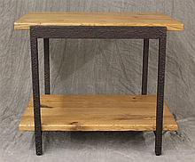 Stickley, Contemporay End Table, Oak, Lower Shelf with Wrought Iron Legs, 23