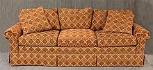 Stickley, Contemporary Sofa, Red and Gold Diamond Floral Upholstery, 32 1/2