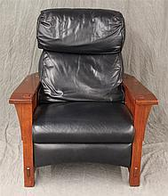 Stickley, Black Leather Recliner, Cherry, 40
