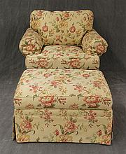 Henredon Two Piece Arm Chair with Matching Ottoman, Floral and Cream Upholstery, (1) Chair 37