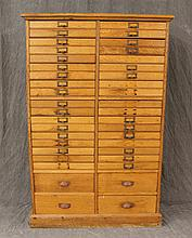File Cabinet, Oak, Twenty Eight Various Drawers over Three Stacks, (Five Missing Drawer Handles, Some Cracking and Wear), 58